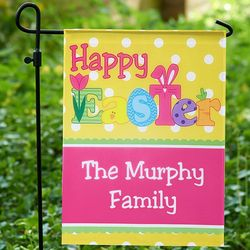 Personalized Bright Happy Easter Garden Flag