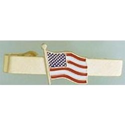 Patriotic Gold Tie Bar with American Flag Accent