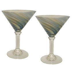 Green Swirl Martini Glasses