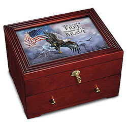 The Free and the Brave Wooden Strongbox with Eagle Art