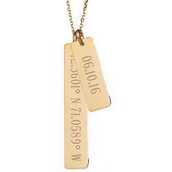 Custom Coordinate and Date Double Vertical Gold Bar Necklace