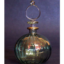 Hand Blown Green Perfume Bottle