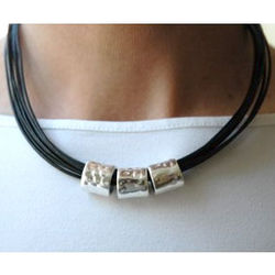 Triple Band on Leather Necklace