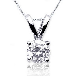 1/2 Carat Diamond 14k White Gold Solitaire Pendant