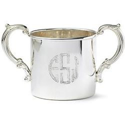 Personalized Sterling Silver Floral Double-Handled Baby Cup