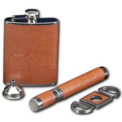 Leather Flask, Funnel, Cigar Tube and Cutter Set