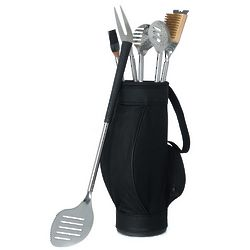 5 Piece Golf BBQ Tool Set in Black Golf Bag