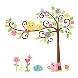 Girl's Repositionable Scroll Tree Wall Sticker Set