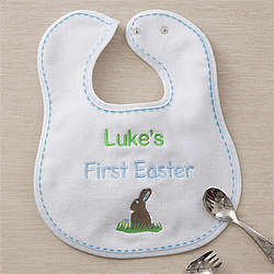 Boy's First Easter Personalized Baby Bib