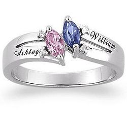 10K White Gold Couple's Marquise Birthstone Name Ring