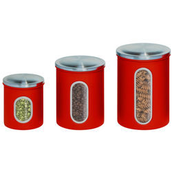 Red 3-Piece Nested Canister Set