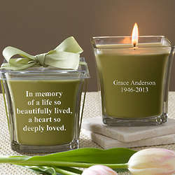 Personalized In Memory Papaya & Bamboo Candles