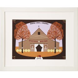 Barn Wedding Scene Personalized Framed Print