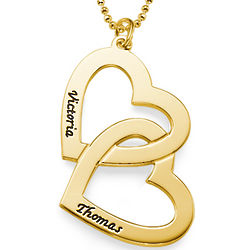 Personalized 18k Gold Plated Heart in Heart Necklace