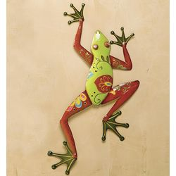 Talavera Painted Metal Frog Wall Art