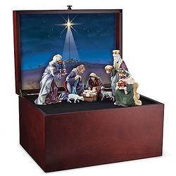 Glory to the Newborn King Nativity Wooden Box