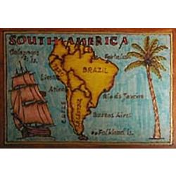 South America Map Leather Photo Album