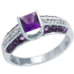 10kt White Gold Princess Cut Amethyst Ring with Diamond Accents