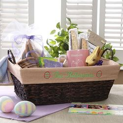 Embroidered Easter Wicker Basket