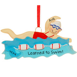 Personalized Learned to Swim Girl Ornament
