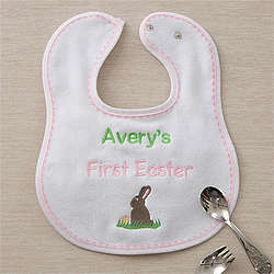 Girl's My First Easter Personalized Baby Bib