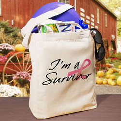I'm a Survivor Cancer Awareness Ribbon Tote Bag