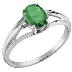 10K White Gold Emerald Ring with Diamonds