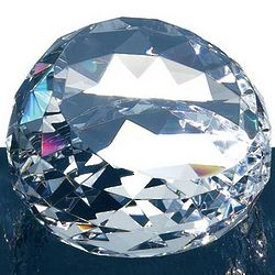 Clear Gem-Cut Round Crystal Paperweight