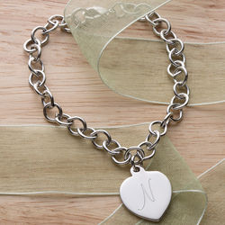 Girl's Personalized Silver-Plated Heart Charm Bracelet