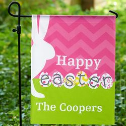 Personalized Bunny Silhouette Easter Garden Flag