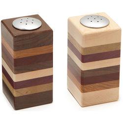 Layered Wooden Salt and Pepper Shaker Set