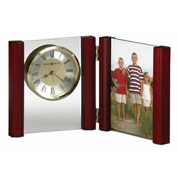 Personalized Alex Rosewood and Glass Desk Clock with Photo Frame