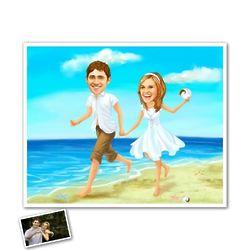 Summer Romance on the Beach Caricature Art Print
