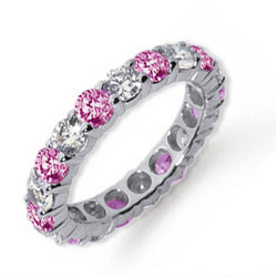 Pink Sapphire and Diamond Platinum Eternity Band