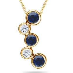 18K Yellow Gold Sapphire and VS Diamond Bubble Pendant Necklace