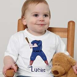 Personalized Boy's Baseball Player T-Shirt