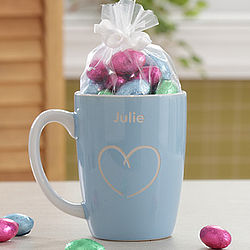 Personalized Blue Lady's Mug with Chocolate Eggs