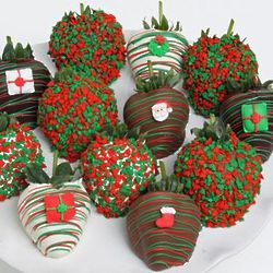 Box of 12 Chocolate Covered Christmas Strawberries