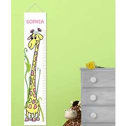 Girly Growing Giraffe Personalized Height Chart