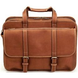 Leather Expandable Computer Briefcase and Overnight Bag