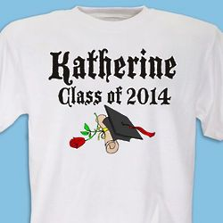 Diploma Rose Class Of Personalized Graduation T-Shirt