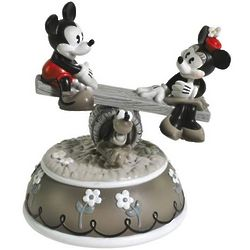 Vintage Mickey Mouse and Minnie See Saw Animated Musical Figurine