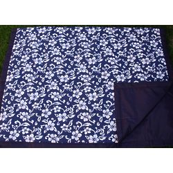Navy Hawaii Floral Picnic Blanket