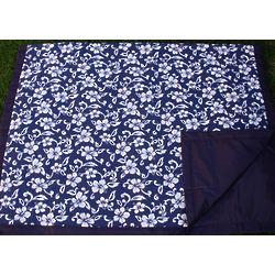 Navy Hawaii Floral Picnic Blanket