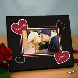 Personalized Couple's Hearts Printed Picture Frame