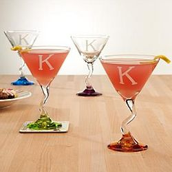Personalized Colorful Martini Glass Set