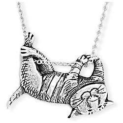 Sterling Silver Dangling Cat Necklace