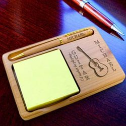 Personalized Guitar Wooden Notepad & Pen Holder