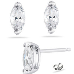 Diamond Earring Settings in 14K White Gold