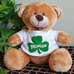 Custom Printed Irish Shamrock Teddy Bear